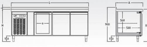 Bajomostrador frigorífico Gastronorm Mod. BMG