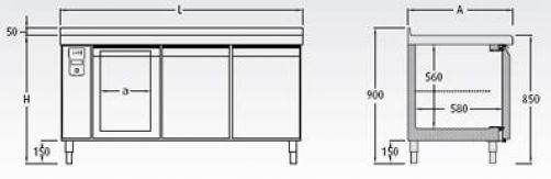 Bajomostrador frigorífico (con preinstalación) · Gastronorm Mod. BMG R