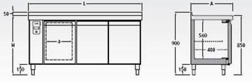 Bajomostrador frigorífico (con preinstalación) Mod. BMR