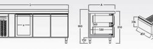 Bajomostrador frigorífico · Gastronorm Mod. BMGC