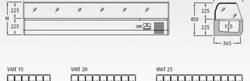 Vitrina sobremostrador refrigerada Mod. VMT